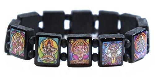 Hindu Gods & Goddesses Manifestation Prayer Black Wood Stretch Bracelet