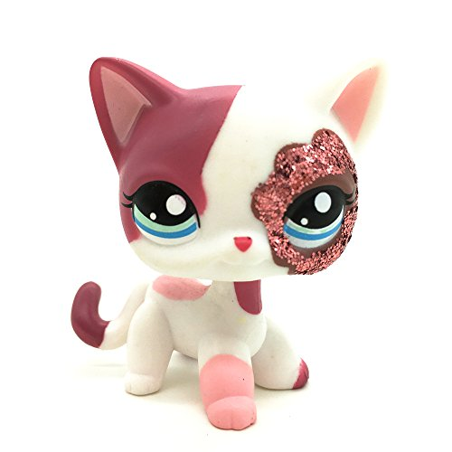 Great Gifts Store Littlest Pet Shop Animal Pet Cat Collection Child Girl Boy Figure Toy Loose Cute LPS … (LPS Flower Pink Eye Shadow - Glitter Eye Cat