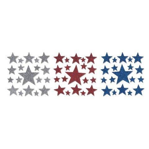 Bulk Buy: Darice Foamies Glitter Stickers -Stars Red, White, and Blue Assorted (12-Pack) ()