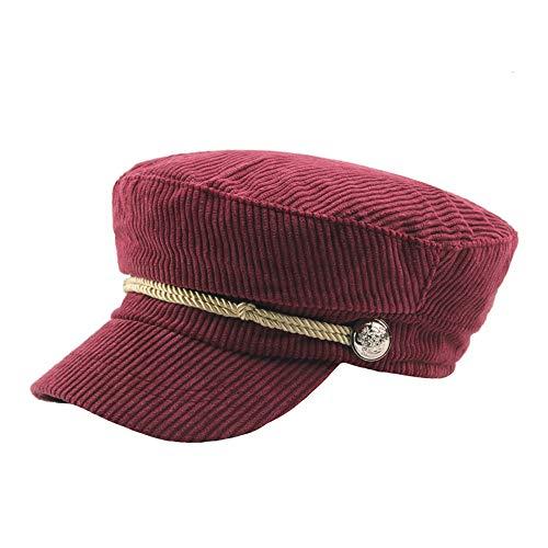Sdcvopl Elegant Beret Autumn and Winter Corduroy Striped Flat Cap Student Hat Rope Decorative Cap Vintage (Color : Red)