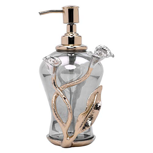 Decozen The Calla Lily Glass Soap Dispenser in Black Luster Finish Gold Finished Aluminum Calla Lily Branch Decoration Smooth Dispensing for Soap and Lotion Decorative Soap Dispenser
