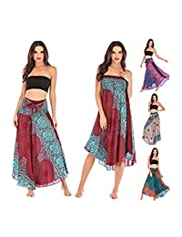 AllaSim Womens 2 in 1 Bohemian Maxi Skirt Dress Boho Elastic Waist Floral Halter Travel Beach Skirt