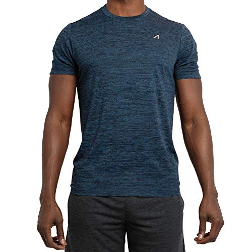 - Alive Men's Tee Shirt Active Quick Dry Workout Short Sleeve Shirts Crew Neck (Estate Blue Heather, Medium)