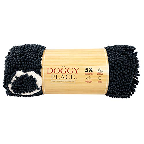 My Doggy Place - Ultra Absorbent Microfiber Dog Door Mat, Durable, Quick Drying, Washable, Prevent Mud Dirt, Keep Your House Clean (Charcoal w/Paw Print, Medium) - 31 x 20 inch