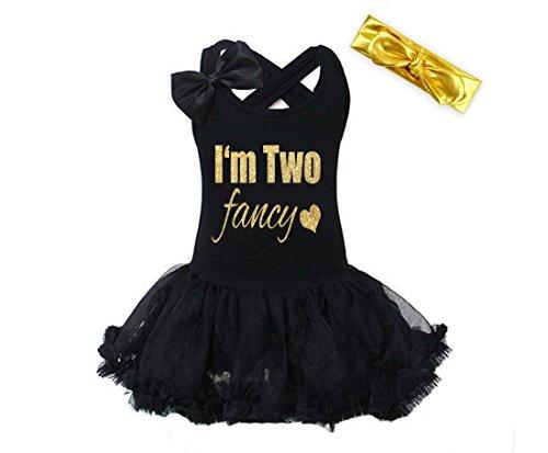(G&G - Black Gold I'm Two Fancy 2nd Birthday Dress for Little Girls (12-24)