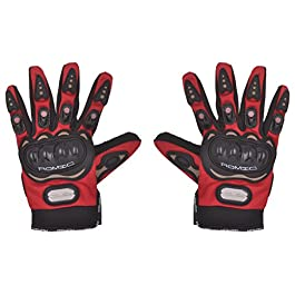 Romic Leather Motorcycle Full Gloves (Red, XL)