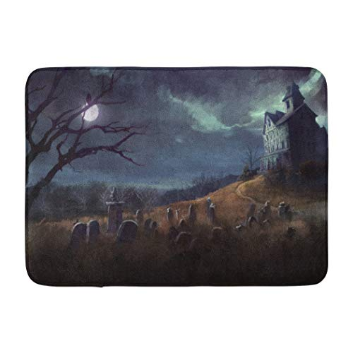Soopat Bath Mat,Halloween Theme with Yard and House Night Cemetery Spooky Horror Absorbent Non-Slip,Quick-Dry,Bathroom Rugs for Bathroom Indoor Doormat 17