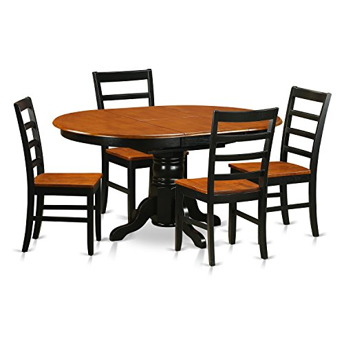 East West Furniture AVPF5-BCH-W 5 Piece with 4 Wooden Chairs Avon Dining Set