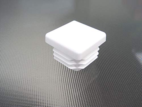 20 Pack- 3/4 inch Square Tube White Plastic Hole Plug End Cap Cover .75'' Pipe