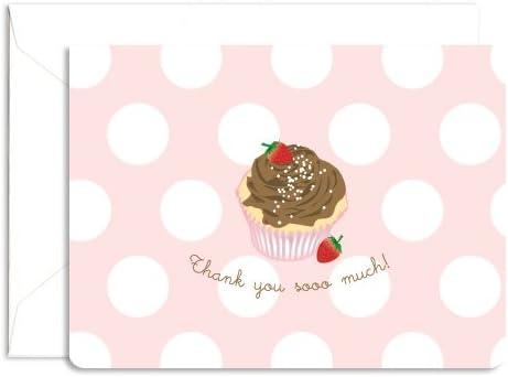 Cupcake Flat Note Cards Cupcake Thank You Cards- Illustrated Cupcake Note Cards Birthday Thank You Cards Cupcake Flat Notes