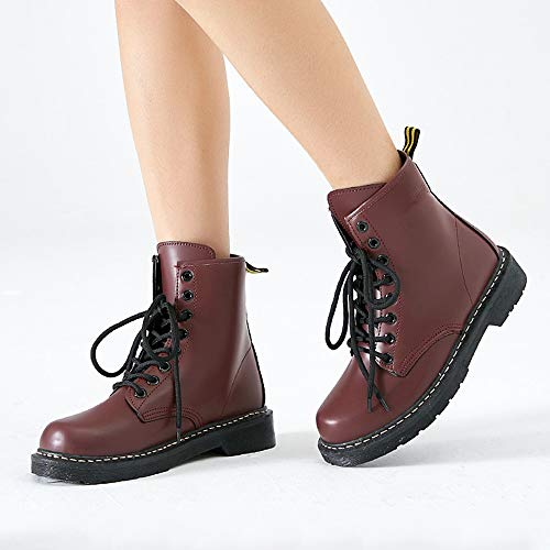 Lase Toe plus Für LIANGXIE Damen Stiefeletten velvet Stiefel Kampf Leder Frauen Brown Schuhe Martens Mode Fashion Frauen Stiefel Runde Warme Lace up up Booties BxBptET