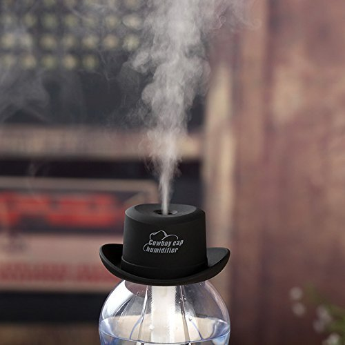 DZT1968® Cowboy Cap USB Mini Portable Humidifier Water Bottle Essential Oil Diffuser Aromatherapy Mist Maker for Office Home SPA Travel (Black)