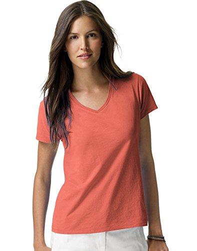 Hanes Ladies Ringspun Cotton Nano-T V-Neck T-Shirt, Vintage Orange, XX-Large