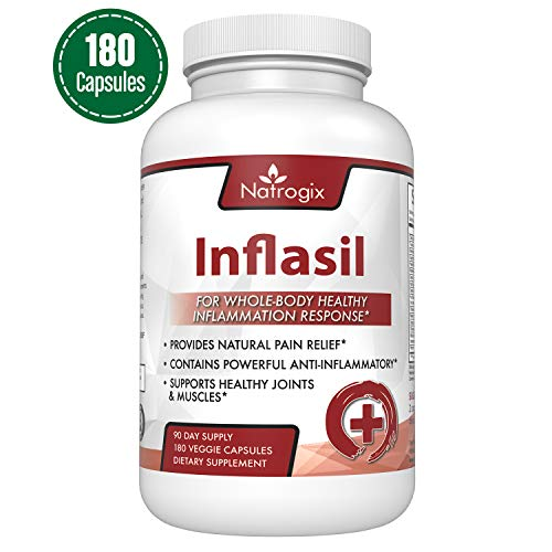 Natrogix Powerful Anti Inflammatory Supplements - Support for Healthy Joint & Muscle Growth, Natural Pain Relief (180 Veggie Capsules)/Made in USA