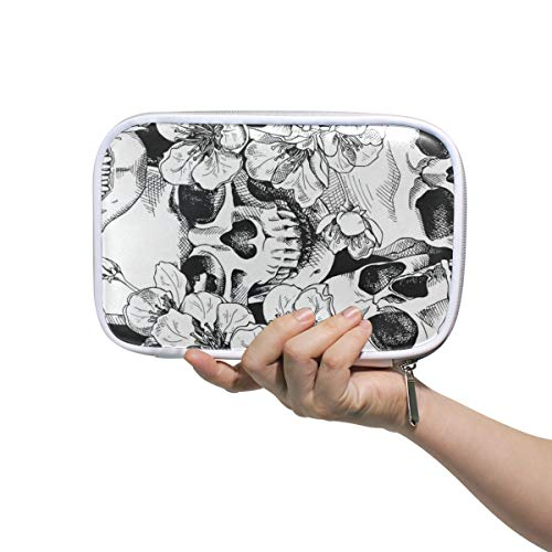 Vintage Happy Halloween Black And White Skulls Makeup Brush Set Bag Multifunction Leather Large Pencil Case Storage Zip Pouch ()