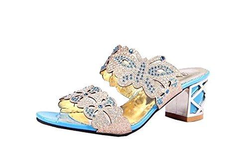 Sommer-Schuhe mit hohen Absätzen hohlen Sandalen Pfau blau