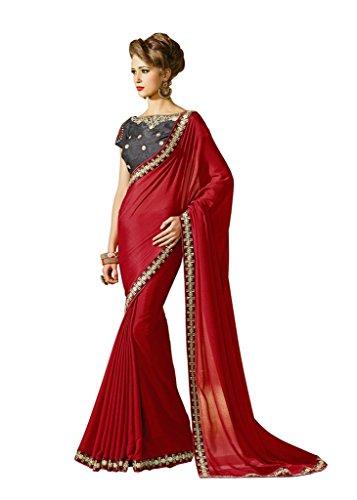 Jaanvi-Fashion-Red-Embellished-Crepe-Chiffon-Saree