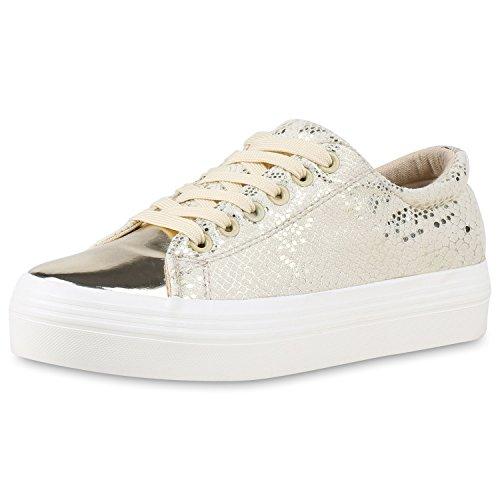 Plateau Gold SCARPE Glitzer Metallic Sneaker Damen VITA qxaEwEvp8