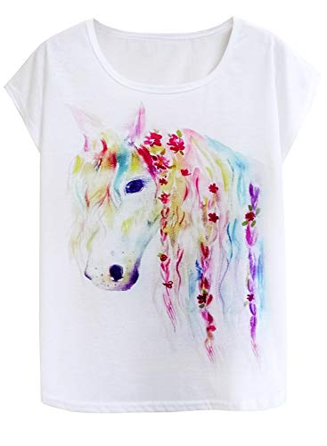 Doballa Women's Graphic Horse Print Tee Short Sleeve Causal Pullover T Shirt Tops (M, Flower Braid Horse)