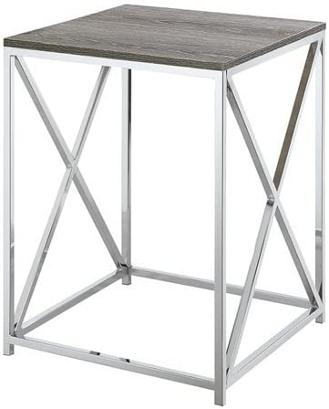 Convenience Concepts Belaire End Table, Chrome Weathered Gray