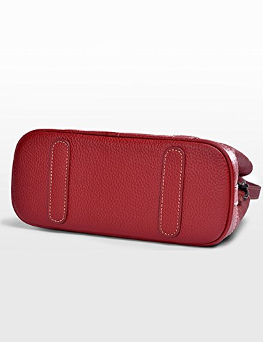 Women's Shoulder Women's Genuine Genuine Black Messenger Bag Leather Red Ir5qqd