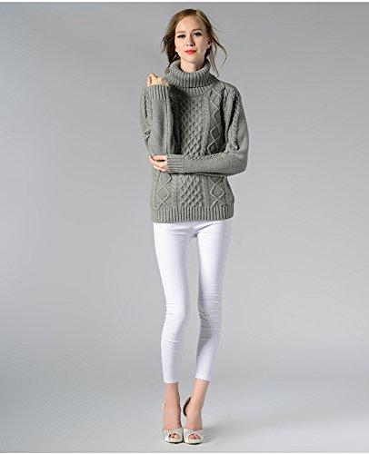 ... Pull Sweater Tricot Longue Hiver Femme Automne Manche Chandails Roulé  Gris Jumper Col Tops qSwazrq ca16eca68124