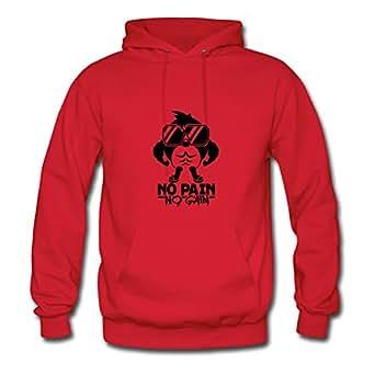 Women No_pain_no_gain_f1 Custom Lightweight Cotton Red Hoody X-large