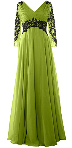 MACloth Women V Neck Mother of the Bride Dress Long Sleeve Formal Evening Gown Verde Oliva