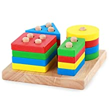 SUNREEK Wooden Educational Preschool Shape Color Recognition Geometric Board Block Stack Sort Chunky Puzzle Toys, Wooden Column Shapes Stacking Toys , Montessori Building Blocks