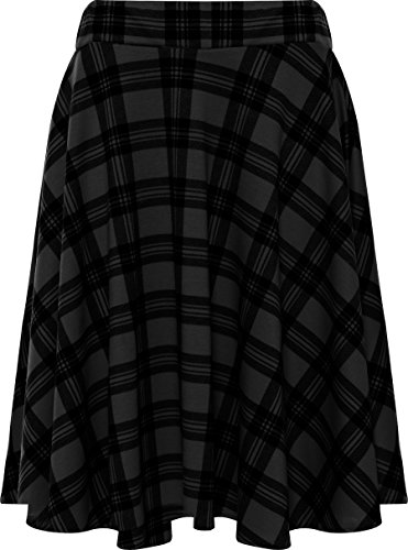 WearAll Women's Plus Size Tartan Print Skater Skirt - Gray - US 22-24 (UK 26-28)