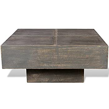 Black Antique-style Square Mango Wood Coffee Table