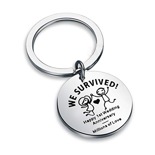 QIIER 1st First Wedding Anniversary Keychain Happy Anniversary Keepsake Gift for Him or Her (Silver)
