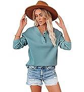 WWomens Casual Tunic Blouse Tops丨V Neck Long Sleeve Button Down丨Cute Ribbed Henley Shirts