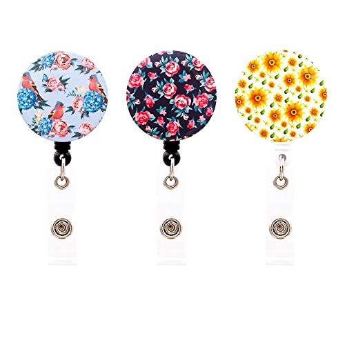 HEYGOO Unique Design Grace Retractable ID Name Card Badge Reel with Swivel Alligator Clip (Daisy Badge Clip)