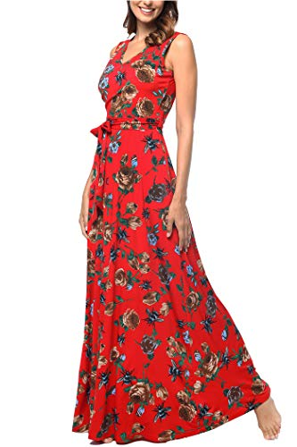 Comila V Neck Dresses for Women, Petite Sleeveless Tank Tops Vintage Floral Print Casual Pocket Maxi Dresses Fashion New V Neck Swing Summer Evening Dress Red M (US 8-10)
