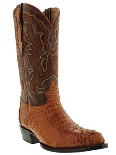 Hornback Caiman Cowboy Boots - El Presidente - Men's Cognac Genuine Crocodile Hornback Leather Cowboy Boots J Toe