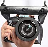 Tteoobl Black Waterproof Bag Pouch Case Cover for SLR DSLR Camera Canon 600D 40D 60D 7D 5D, Nikon D80 D90 D700 D5100 7000 Up to 65 Feets (L)