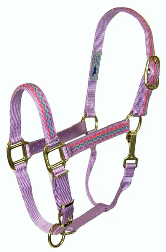 Hamilton 8-11 1 Nylon Quality Adjustable Horse Halter with Snap, Average for Horses 800 to 1100 lbs., Lavender Weave Overlay (Arabian Halter)