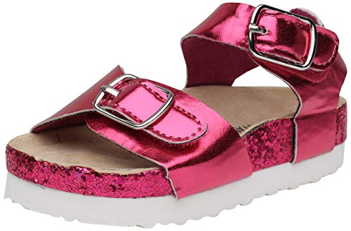 dELiA*s Toddler Girls Footbed Sandal with Glitter Outsole, Fuchsia, Size 5 M US Toddler'