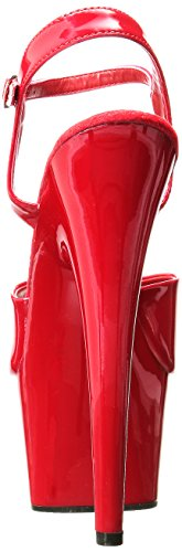 Pleaser ADORE-709 Damen Plateau Sandalen Rot (Rot (Red/Red))