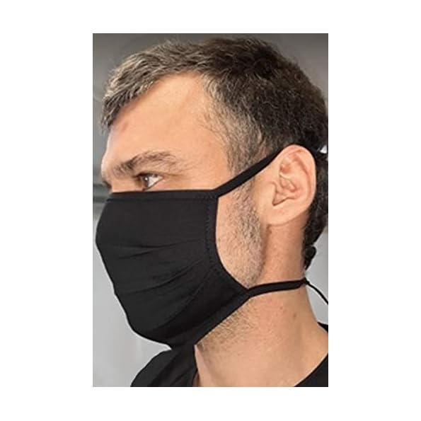 Demoniq-Stoff-Maske-Mund-Nasen-Schutz-aus-100-zertifizierter-Baumwolle-Cup-Form-doppellagig-zum-Binden-schwarz-Gesichts-Maske-Mund-Schutz-Unisex-waschbar-wiederverwendbar-Made-in-EU