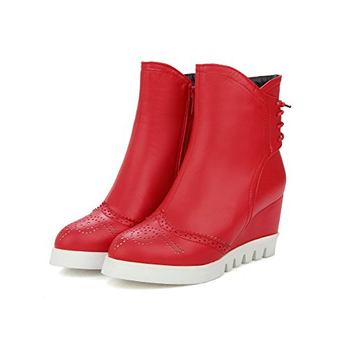 Boots Solid Soft High Allhqfashion Heels Toe Women's Low Material Round top Red Closed WYwwPfqHz5