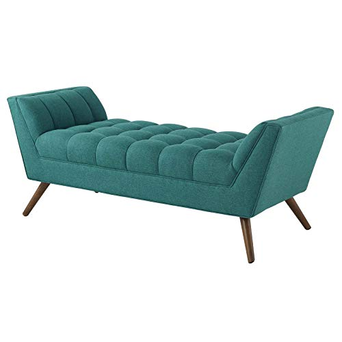 America Luxury - Benches Modern Contemporary Urban Design Living Room Lounge Club Lobby Accent Chair Bench, Fabric, Aqua Blue
