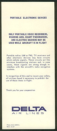 Delta Air Lines Portable Electronic Devices Warning Card 1967