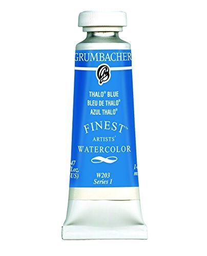Grumbacher Finest Watercolor Paint, 14 ml/0.47 oz, Thalo Blue