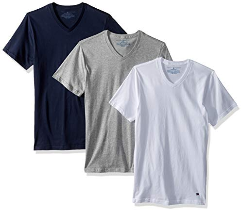 Tommy Hilfiger T-shirt Top - Tommy Hilfiger Men's Undershirts 3 Pack Cotton Classics Slim Fit V-Neck T-Shirt, Dark Navy/Grey Heather/White X-Large