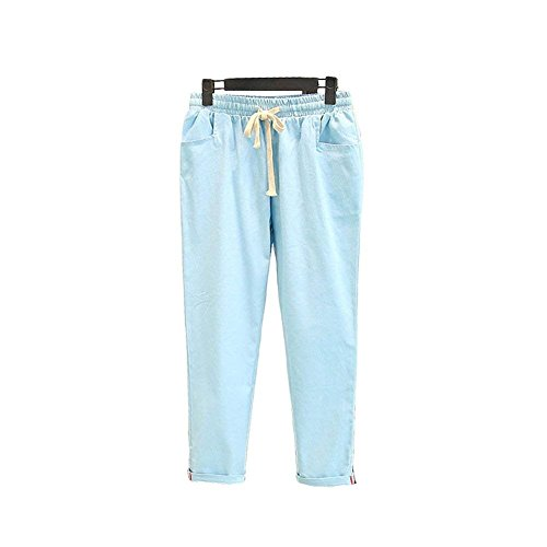 Libero Cute Elastica Pantalone Coulisse Vita Carota Pantaloni Monocromo Estivi Eleganti Trousers Pants Chic Di Pantalone Fashion Donna Mieuid Tempo Hellblau RxaBB