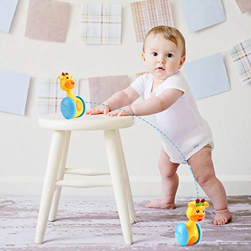 Tinabless Giraffe Tumbler Doll Roly-Poly Baby Toys, Cute Rattles Toys for Newborns 3-12 Month Baby Boys and Girls Xmas…