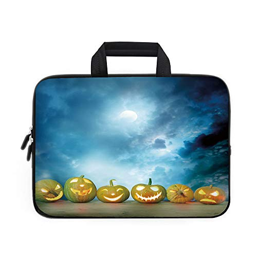 (Halloween Laptop Carrying Bag Sleeve,Neoprene Sleeve Case/Spooky Halloween Pumpkins on Wood Table Dramatic Night Sky Print Decorative/for Apple MacBook Air Samsung Google Acer HP DELL Lenovo)