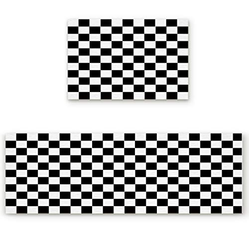 2 Piece Non-Slip Kitchen Mat Runner Rug Set Doormat Simple Black and White Checkered Flag Door Mats Rubber Backing Carpet Indoor Floor Mat(15.7